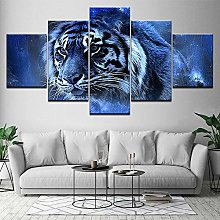 5 Paintings On Canvas Tiger Calligraphy