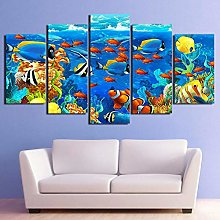 5 Paintings On Canvas Tropical Fish Print Canvas