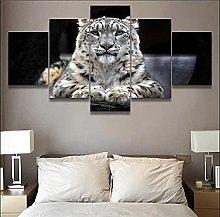 5 Panel Wall Art Animal Whitetiger Paintings On
