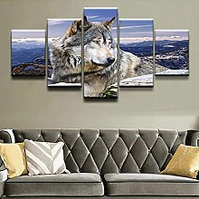 5 Panel Wall Art Animal Wolf. Paintings On Canvas
