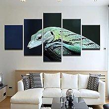 5 Panel Wall Art Animals Lizard Paintings On
