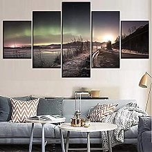 5 Panel Wall Art Autumn Forest Paintings On Canvas