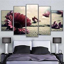 5 Panel Wall Art Beautiful Flower Paintings On