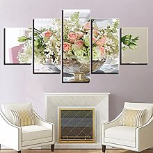 5 Panel Wall Art Beautiful Flowers Paintings On