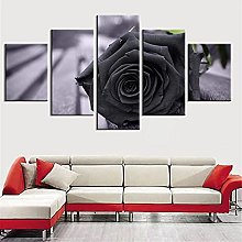 5 Panel Wall Art Black Rose Paintings On Canvas