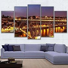 5 Panel Wall Art Bridge & Lights Paintings On