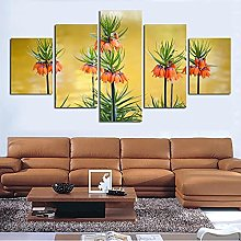 5 Panel Wall Art Bright Flowers Paintings On