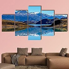 5 Panel Wall Art Canvas Mountains With Lake In