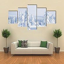 5 Panel Wall Art Canvascold Winter With Lot Of