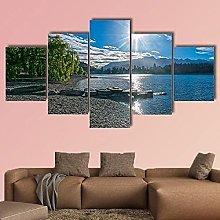 5 Panel Wall Art Canvaslake Wakatipu With