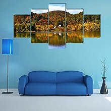 5 Panel Wall Art Canvaslake With Autumn Foremodern