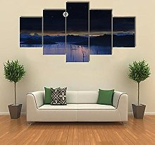 5 Panel Wall Art Canvaslake With Full Moonmodern