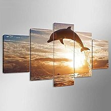 5 Panel Wall Art Canvasseaside With Dolphin
