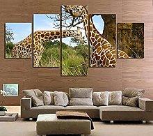 5 Panel Wall Art Couple Giraffe Paintings On