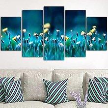 5 Panel Wall Art Daisy Flower Paintings On Canvas