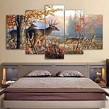5 Panel Wall Art Deer Landscape Paintings On