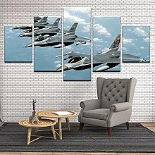 5 Panel Wall Art Fighter Aircraft Paintings On