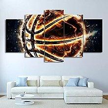 5 Panel Wall Art Fire Basketball Paintings On