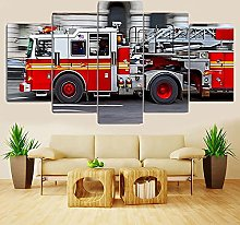5 Panel Wall Art Fire Engine Paintings On Canvas
