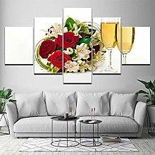 5 Panel Wall Art Flower Beer Paintings On Canvas