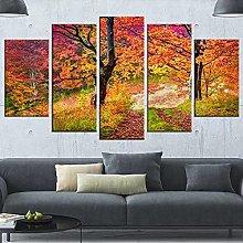 5 Panel Wall Art Maple Tree Paintings On Canvas