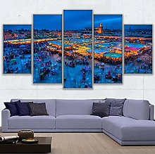 5 Panel Wall Art Marrakech Square Paintings On