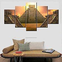 5 Panel Wall Art Mayan Pyramid Paintings On Canvas
