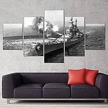 5 Panel Wall Art Missouri Battleship Paintings On