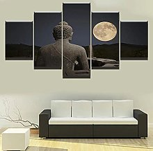 5 Panel Wall Art Moon Buddha Paintings On Canvas
