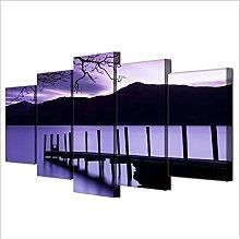 5 Panel Wall Art Purple Landscape Paintings On