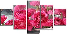 5 Panel Wall Art Red Flowers Paintings On Canvas