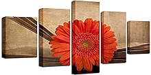 5 Panel Wall Art Red Sunflower Paintings On Canvas
