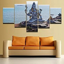 5 Panel Wall Art Religious Buddhism Paintings On