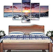 5 Panel Wall Art Seaview Landscape Paintings On