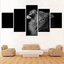 5 Panel Wall Art Smiling Lion Paintings On Canvas