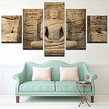 5 Panel Wall Art Stone Buddha Paintings On Canvas