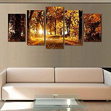 5 Panel Wall Art Sunset Forest Paintings On Canvas