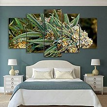 5 Panel Wall Art Weed Plant Paintings On Canvas
