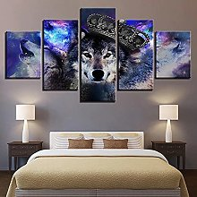 5 Panel Wall Art Wolf With Crown Paintings On
