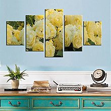 5 Panel Wall Art Yellow Rose Paintings On Canvas
