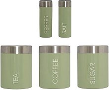 5 Pc Canister Tea Coffee Sugar Salt And Pepper