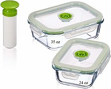 5-pc Glass Vacuum Food Storage Containers,