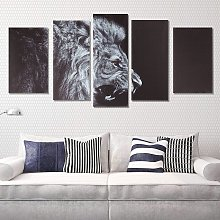 5 Pcs New Fashion Black Lion Animal Print HD