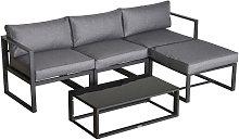 5 Pcs Outdoor Garden Seating Sofa Set w/ Padded