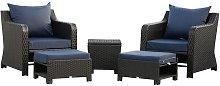 5 Pcs Outdoor Rattan Sofa Set w/ Storage Side