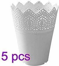 5 Pcs Plastic Flower Vase Pots Hollow Lace Plant