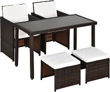 5 PCs Rattan Garden Furniture Wicker Weave Sofa