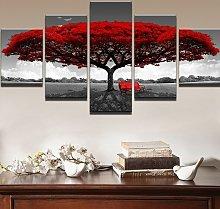 5 Pcs / set Modern Canvas Painting Decor Red Tree