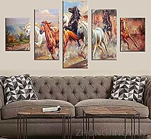 5 Piece Canvas Wall Art Animal Abstract Mural