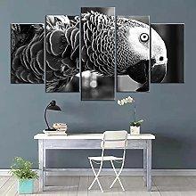 5 Piece Canvas Wall Art Animal Bird Abstract Mural